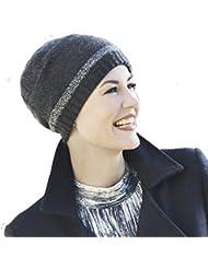 Gorro oncológico gris oscuro jaspeado de cachemira, tacto increíble y calor para el invierno