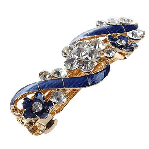 TOOGOO(R) Epingle a cheveux de diamant de fleurs bleues degoulinant pour les femmes