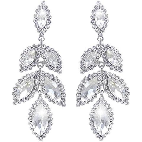 EVER FAITH® nuziale silver-tone del petalo del fiore ciondola gli orecchini cristallo austriaco - Petalo Ciondola