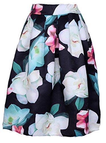 helan-mujeres-alta-cintura-de-la-colmena-de-la-vendimia-falda-de-flores-white-flower-negro-base