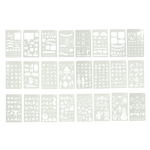Healifty PET Schablone Zeichenschablonen Stanzschablone Stanzformen für DIY Bullet Journal Album Scrapbooking Papier Karte Kunst Deko 24 Blätter -