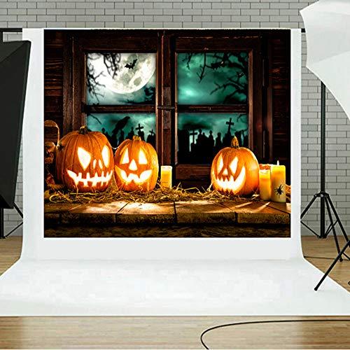 TAOtTAO Halloween Backdrops Kürbis Vinyl 5 x 3FT Laterne Hintergrund Fotografie Studio (F)