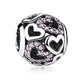Herz Charms Fit Pandora Armbänder Pink durchbrochen echtem Sterling Silber Geburtstag Geschenke für Mädchen Freinds