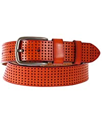 Schmick Tan Genuine Leather Perforated Belt For Men