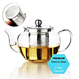 AckMond 600 ml Clear Glass Teapot in Apple Shape with Heat Resistant Stainless Steel Infuser