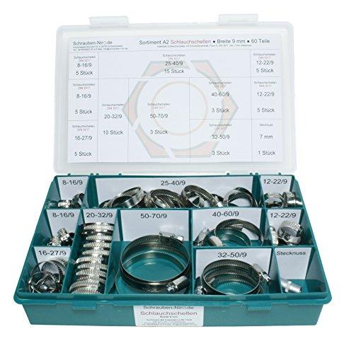 Preisvergleich Produktbild Sortiment A2 Edelstahl Schlauchschellen, Bandbreite 9 mm, Spannbereiche von 8 bis 70 mm, Set mit 60 Teilen inklusive 7 mm Steckschlüsseleinsatz, Material W4 (entspricht V2A)