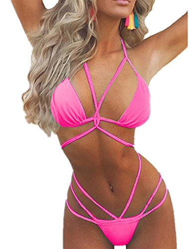 chicolife Damen Womens Solid Color Bikini Set Zwei Stück Beachwear Schwimmen Push Up Badeanzug - Color Bikini