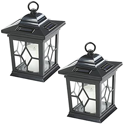 Woodside 2 x Solar Powered Flickering Garden Candle Lanterns/Lamp by Woodside