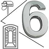 magicdo® grande plata moderno Número de Casa, número de apariencia moderna buzón números Pegatina, 3d metal Shining reflectante Número, Self Stick Número, flotante, número de casa número de vinilo de señales, 6, 6