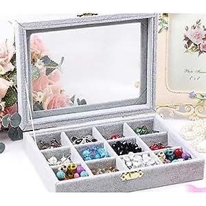 Classique Douze Grilles Slap -up Bijoux Pendentif Buggy Sac Papier de verre multicolore flanelle Boîtes à bijoux - Rose