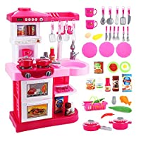 Delex® Toddler Kitchen Playset My Little Chef With 30 Accessories Role Playing Game. Great Christmas XMAS \ Birthday Gift New (Red)