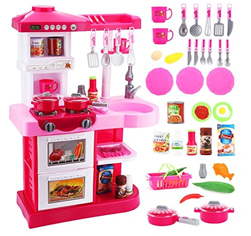 "deAO Cocinita de Juguete ""Mi Little Chef"" Con 30 Accesorios Incluidos – En Color *Rosa*"