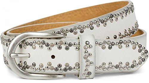 styleBREAKER Nietengürtel mit verschiedenfarbigen kleinen Nieten, Gürtel, kürzbar, Unisex 03010071, Farbe:Weiß;Größe:80cm