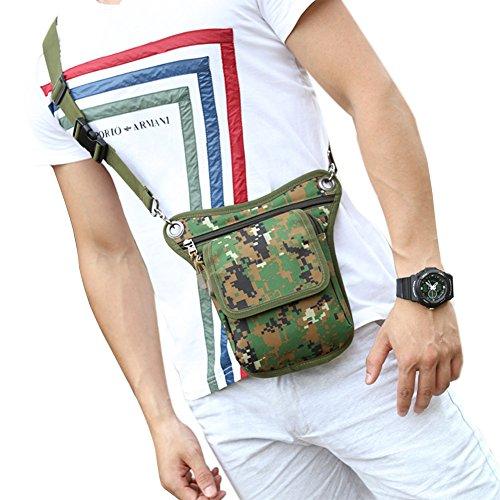 Genda 2Archer Kleine Oxford Canvas Oberschenkel Bein Tasche Outdoor Sport Taille Tasche (Schwarz) Camo Grün