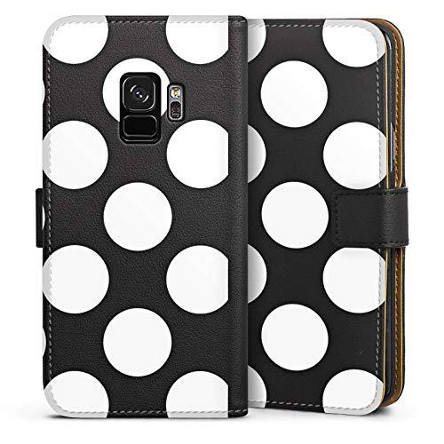 mpatibel mit Samsung Galaxy S9 Leder Flip Case Ledertasche Muster ohne Hintergrund Punkte Polka Dots ()
