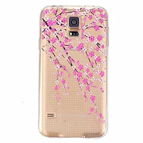 MOTOUREN Coque Housse pour Samsung Galaxy S5 Transparente Cute Motif Premium TPU Souple Etui de Protection [absorbant les chocs] [Ultra mince] [Anti-rayures] - fleur de pêche