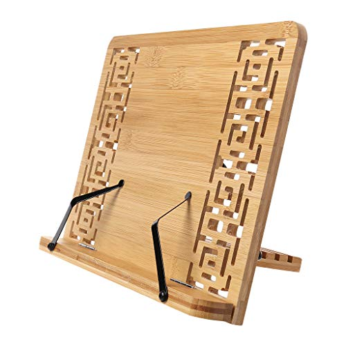 Lagand Bamboo Hollow Adjustable Reading Book Holder Tray Page Paper Clips Foldable Tablet Cookbook Portable Sturdy Bookstand