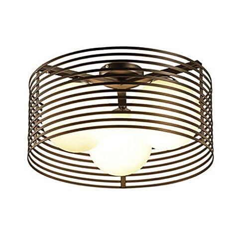 ayaya Plafonnier Noir Chambre Lampes ronde moderne simple Restaurant de fer Éclairage Plafonnier Design 3Lampe Bulb Globe 3LED lampe lumière Lampes étude, 45cm
