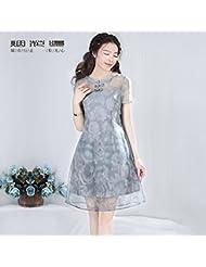Estilo De Verano Vestido De Manga Corta,M (12 - 14),Gray