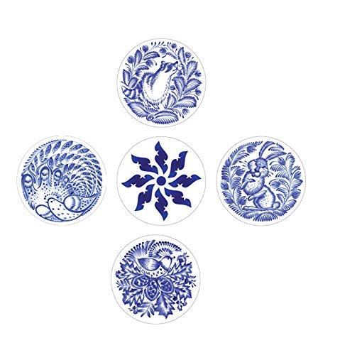 Block Decor | Real Art | Wall Hanging Plates | Blue Wall | 5 Pcs Set China Plate Set