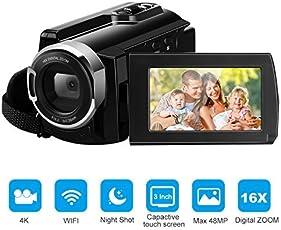 FLOUREON Wifi Camcorder 4K Ultra-HD 48 Megapixel 16-Fach digitaler Zoom 3,0 Zoll LCD, AP-Modus, Nachtaufnahme