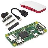 Raspberry Pi Zero W Light Starter Kit - Bestehend aus: Raspberry Pi Zero W, offiziellem Raspberry Pi Zero Gehäuse (rot/weiß), Adapter / Stiftleisten Set