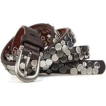 StyleBREAKER extra fine ceinture avec strass et rivets style vintage en cuir  véritable, 03010045 ajustable b7ba79c417f
