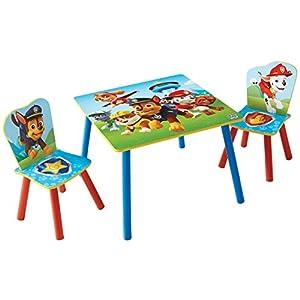 Paw Patrol Set aus Tisch und 2 Stühlen für Kinder, Holz, Rot/Blau, 63 x 63 x 52.5 cm