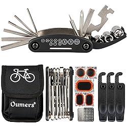 Oumers Kit de Reparación de Bicicletas,16 en 1 Herramienta multifunción para bicicleta con kit de parche y palancas para neumáticos, Kit de herramientas para reparación de bicicletas, Paquete de he