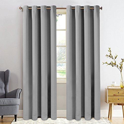 FAIRYLAND Vorhang - Blickdicht Gardinen mit Ösen - Verdunkelungsvorhang - Wärmeisoliert - für Kinderzimmer, Wohnzimmer - 8 Löcher pro Stück,1 Paar (245x140,Grau)