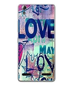 FUSON Designer Back Case Cover for Lenovo A6000 :: Lenovo A6000 Plus :: Lenovo A6000+ (Cute Love Sketches Blue arts Handmade Love Posters)