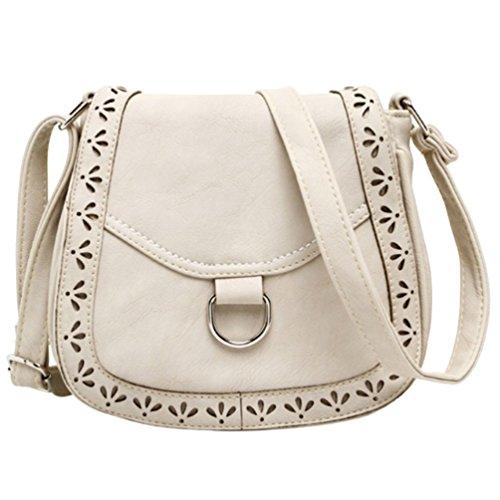 YouPue Damen Handtasche Umhängetasche Schultasche Damenhandtaschen Tragetaschen Pu-Leder Retro Kuriertasche Beige