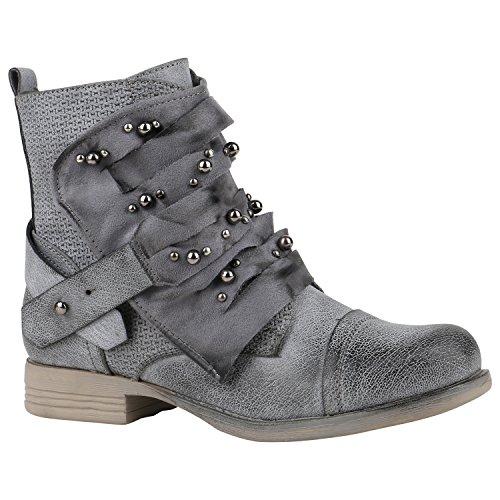 Warm Gefütterte Damen Schuhe Biker Boots Prints Stiefeletten Zipper 156851 Grau Perlen 37 Flandell (Gefüttert-print-rock)