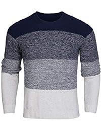 iClosam Sudadera para Hombre V-Neck Sweater PulóVer De Punto