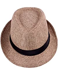 Zhiyuanan Chic Cappello In Panama Casual Fedora Cappelli Di Spiaggia  All Aperto 90e26a312295
