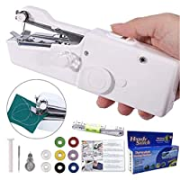Mini Handheld Sewing Machine, DUTISON Handheld Stitch Portable Fabric Curtains Cordless Electric Stitch Household Tool for Fabric, Clothing, Kids Cloth, Home Travel Use (Battery Not Included)