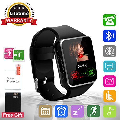 Smart Watch Bluetooth Camera TouchScreen Wrist Watch Waterproof Sports Pedometer Activity Fitness Tracker with SIM TF Card Texts Calls Social Media notifications for IOS Android Samsung Men Women Kids