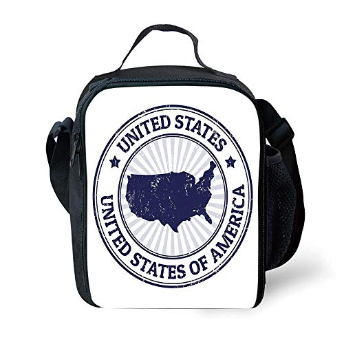 ZKHTO School Supplies USA Map,Grunge United States of America Stamp Pattern Federal National Symbol Image,Navy Blue White for Girls or Boys Washable