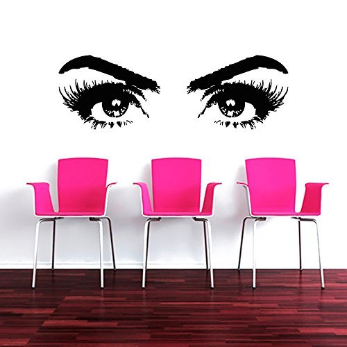 Wall Decals Makeup Eyes Face Girl Fashion Cosmetic Hairdressing Make Up Beauty Salon Hair Styling Vinyl Sticker Wall Decor Murals Wall Decal by DecorimDecorWallDecal (Wie Zu Lesen, Fashion)