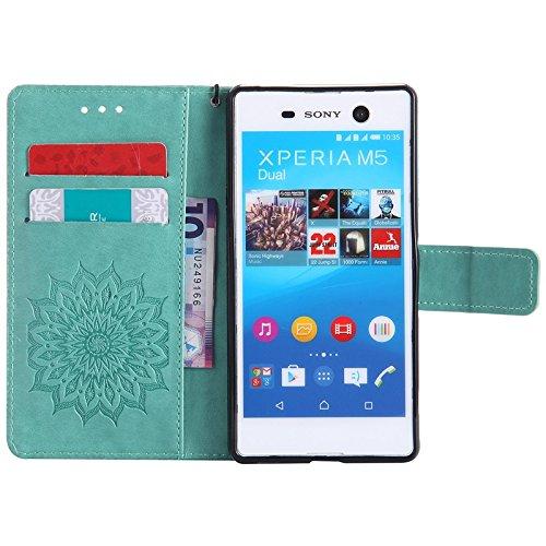 YHUISEN Sony M5 Case, Sun Flower Druck Design PU Leder Flip Wallet Lanyard Schutzhülle mit Card Slot / Stand für Sony Xperia M5 ( Color : Brown ) Green