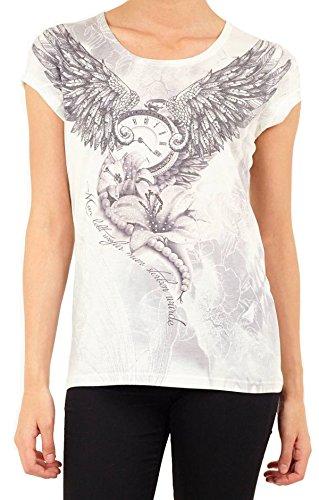 Brave Soul T-Shirt Oberteil Damen Engel Flügel Uhr Zeit Blumen Perlen Diamanten schöner Spruch Bedrucktes Damen-Shirt Fantasy Rise Grau Weiß (S)