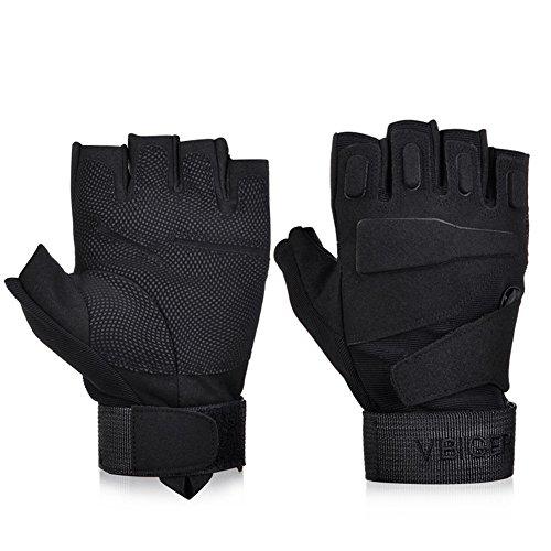 Vbiger Gants Tactiques Demi-doigt Unisexe Vélo Cyclisme VTT Moto Randonnée Ski (Noir 4, M)