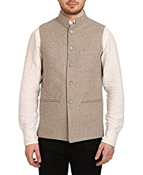 Wintage Mens Tweed Bandhgala Festive Nehru Jacket Waistcoat Beige, Large