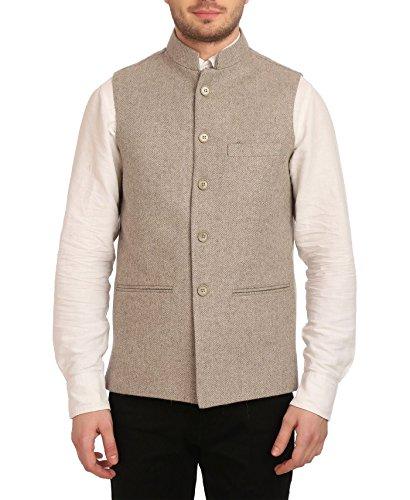 Wintage Men's Tweed Bandhgala Festive Nehru Jacket Waistcoat Beige, 3X-Large