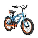 "BIKESTAR Bicicleta infantil para niños y niñas | Bici 16 pulgadas | Color Azul | Frenos de tiro lateral y freno de contrapedal | A partir de 4 años | 16"" Edición Cruiser 2018"