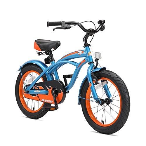 BIKESTAR Premium Sicherheits Kinderfahrrad 16 Zoll für Jungen ab 4 - 5 Jahre ★ 16er Kinderrad Cruiser ★ Fahrrad für Kinder Blau -