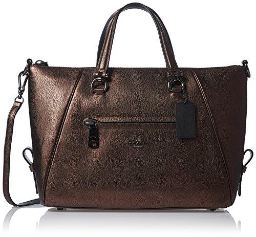Coach Primrose Pebbled Leather Satchel Handbag Bronze (Coach Satchel Handbags)