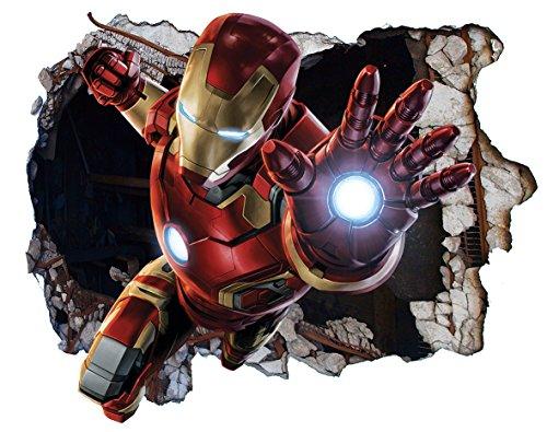 Marvel Avengers Iron Man Ironman v00301Wall Crack Smash Wandtattoo selbstklebende Poster Wall Art Größe 1000mm breit x 600mm tief (groß) (Marvel Avengers-fenster Aufkleber)
