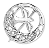L'éternité celtique traditionnelle Knotwork d'argent sterling et l'abbaye d'Iona conçoivent la broche de forme ronde comportant une colombe en cercle de centre