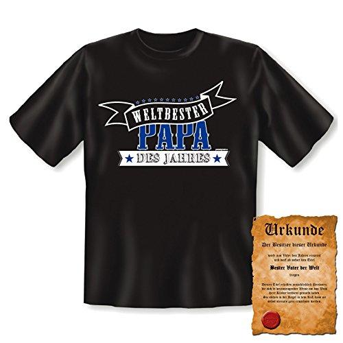 Fun T-Shirt für Väter - Weltbester Papa des Jahres - Geschenk-SET zum Vatertag - Geburtstag - Mit gratis Urkunde Schwarz